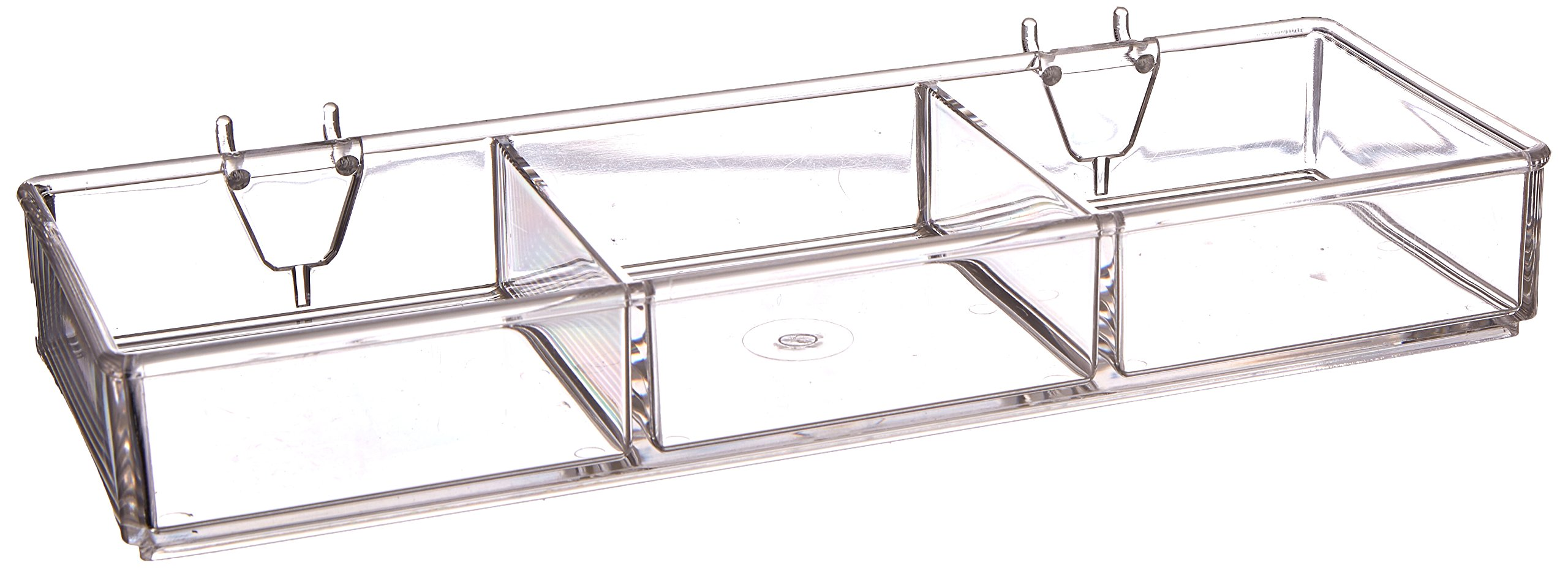 Azar Displays 225503-2pack 3-Compartment Tray for Pegboard/Slatwall (Pack of 2)