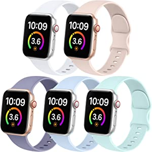 5 Pack Bands Compatible with Apple Watch Band 38mm 40mm 42mm 44mm Women Men, Soft Silicone Sport Replacement Strap Compatible with iWatch Series 6 5 4 3 2 1 SE 38mm/40mm