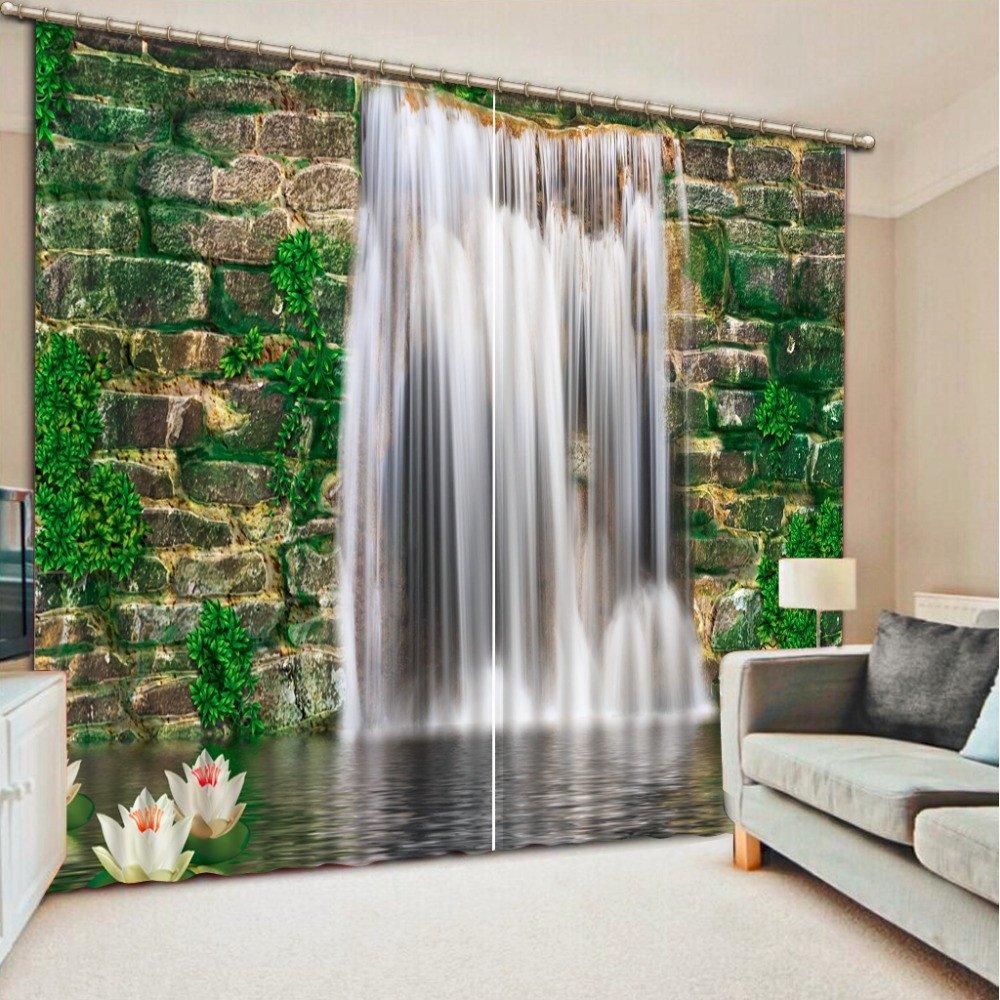 Wapel Custom Waterfall Landscape 3D Photo Blackout 3D Curtain For Living Room Bedroom Kids Room 260X320CM
