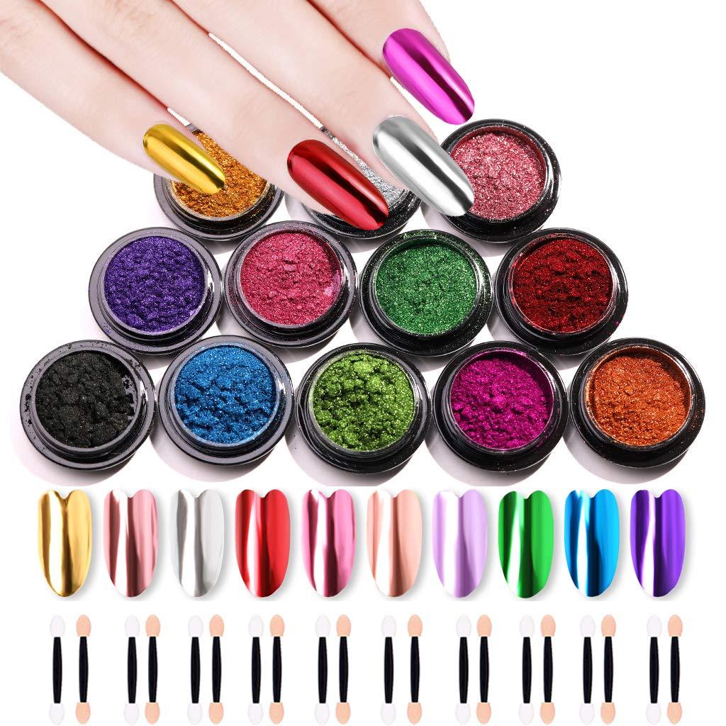 10 Jars Nail Mirror Powder Nail Art Powder Metallic Chrome Powder 10 Colors Manicure Pigment(1g/Jar) with 20 Pcs Eyeshadow Sticks by Hobein