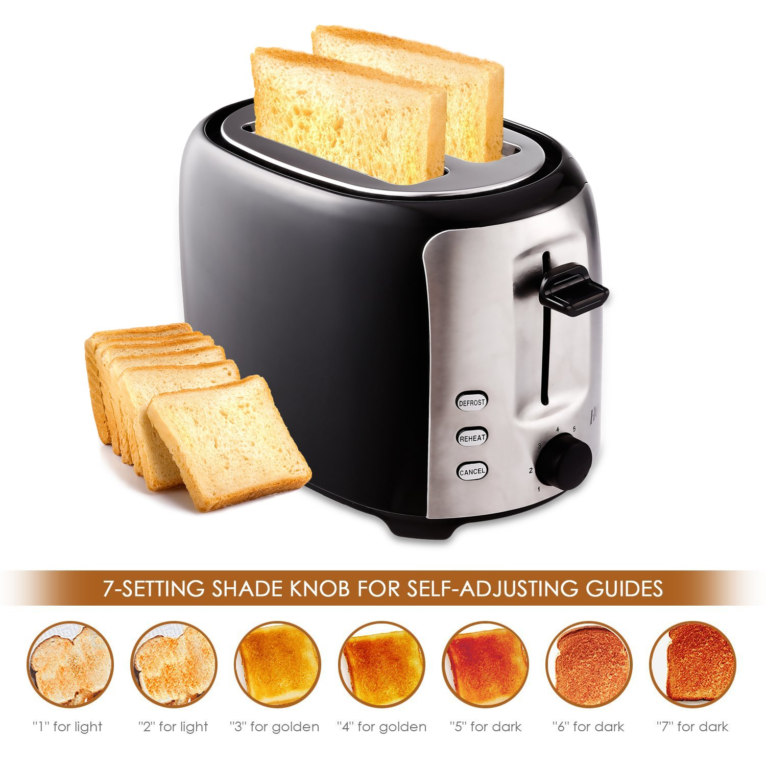 2-Slice Toaster, 7 Temperature Levels,Toaster for Bagels with Wide Slots