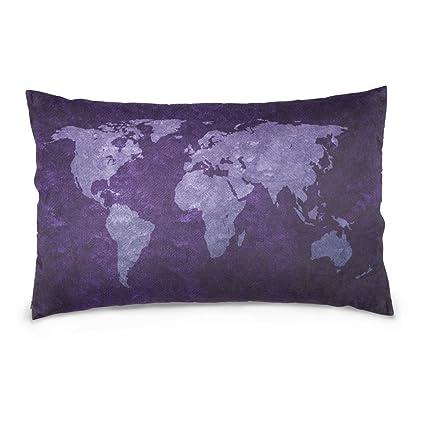 Amazon Com Alaza Purple World Map Cotton Standard Size Pillowcase