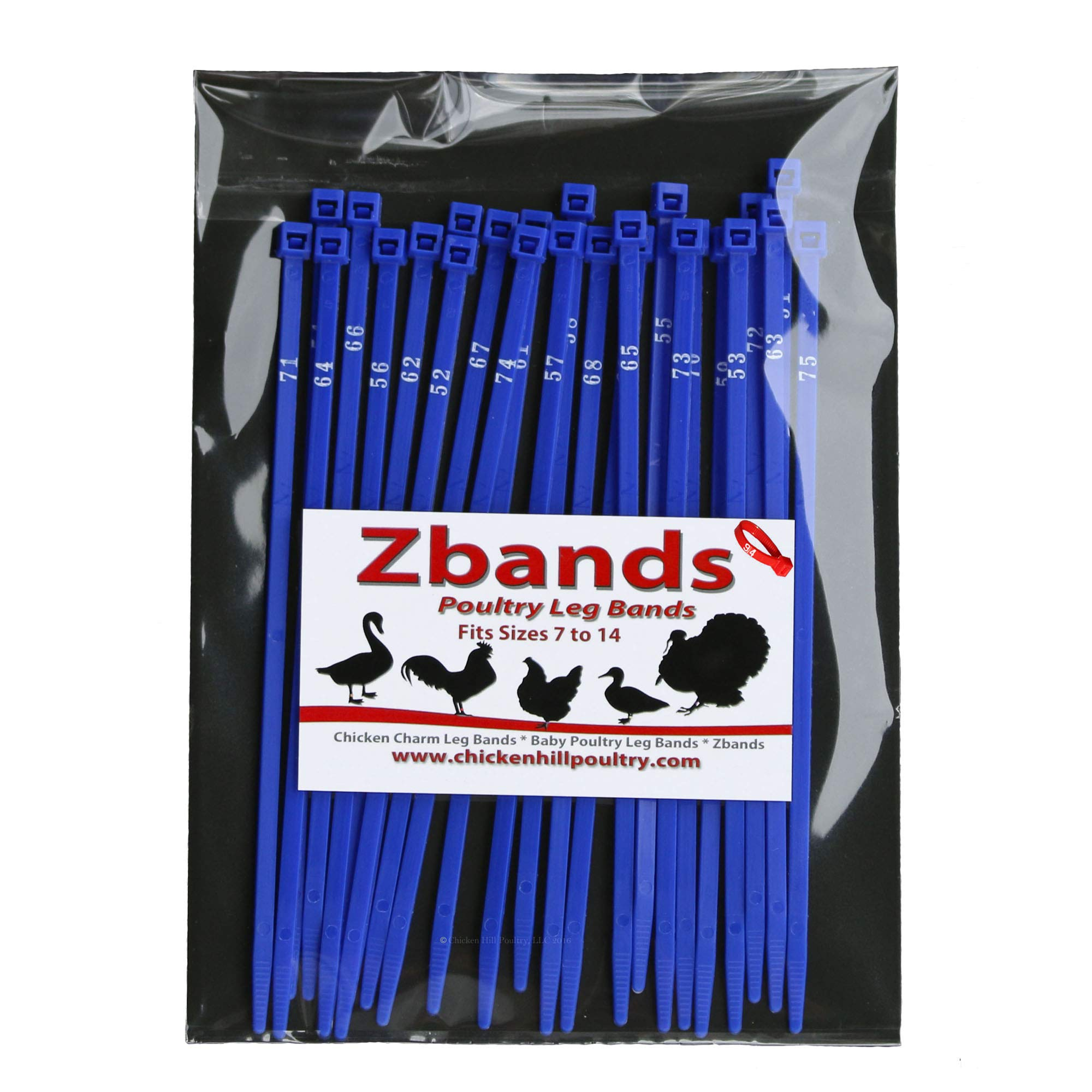 Chicken Hill 100 ZBand Numbered Poultry Leg Bands ~ Fits Sizes 6 to 14 by Chicken Hill
