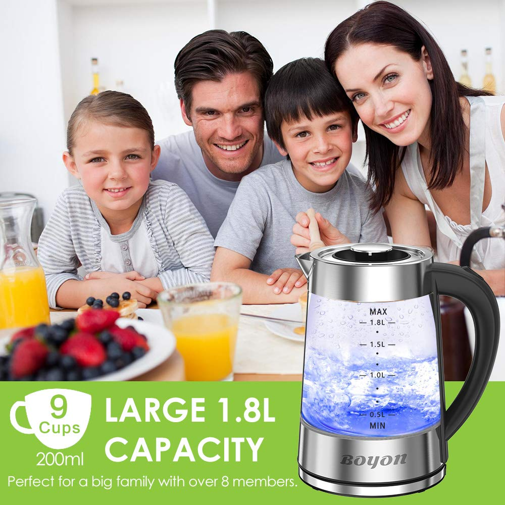 BOYON 1.8L Electric Kettle 1500W BPA Free, Stainless Steel Inner Lid & Bottom, Glass Tea Kettle with LED Indicator Light, Auto Shut-Off & Boil-Dry Protection