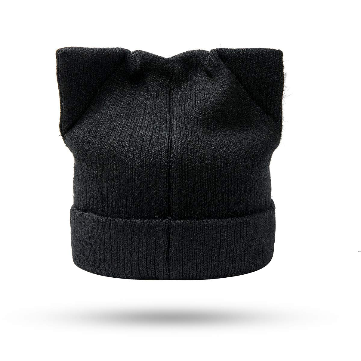Flowomen Womens Winter Hat Cat Ear Hat with Warm Knit Crochet Slouchy Beanie Hat for Women (Black)