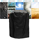 KING DO WAY Barbecue Cover Duty Waterproof Round BBQ Cover Grill Outdoor Dust Rain Protector With Storage Bag 77x58cm(diameter x height)Black