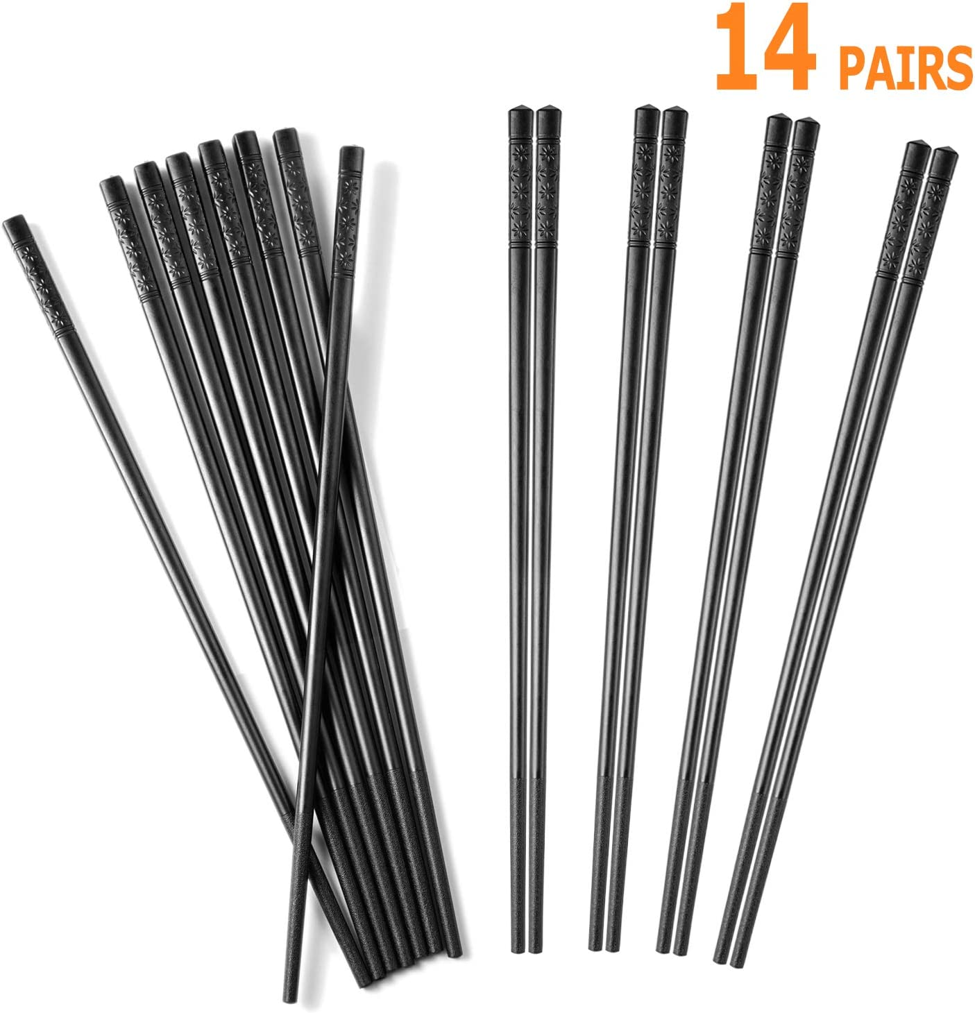 "Chopsticks,14 Pairs Non-slip Fiberglass Chopsticks,Reusable Japanese Chopsticks Dishwasher Safe,9.5"" Black"