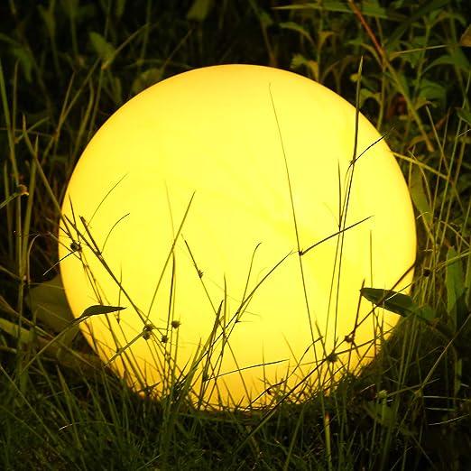 Albrillo Luz Solar de Jardín con 12 Colores Ajustables, LED Exterior Solar de Globo (Diámetro: 30cm), con Control Remoto, Carga por USB, IP68 Impermeable, para Decoración de Patio, Césped, Piscina: Amazon.es: Iluminación