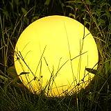 Albrillo RGB Luz Solar de Jardín - Iluminación Exterior LED de Globo de 30cm, Lámpara Esfera con 8 Colores Ajustables…