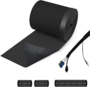 """Cable Management Sleeves 118"""" Length DIY Cable Tidy Cuttable Nylon Cord Organizer System, Cable Clips Holders Wire Management Kit for Office Desk TV PC Home Theater"""