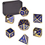 QIJUN Zinc Alloy Metal Dice Polyhedral Dice 7PCS D20 D12 D10 D8 D6 D4 for Dungeons and Dragons DND RPG MTG Table Games and Math Teaching with Metal Box(Blue Gold)