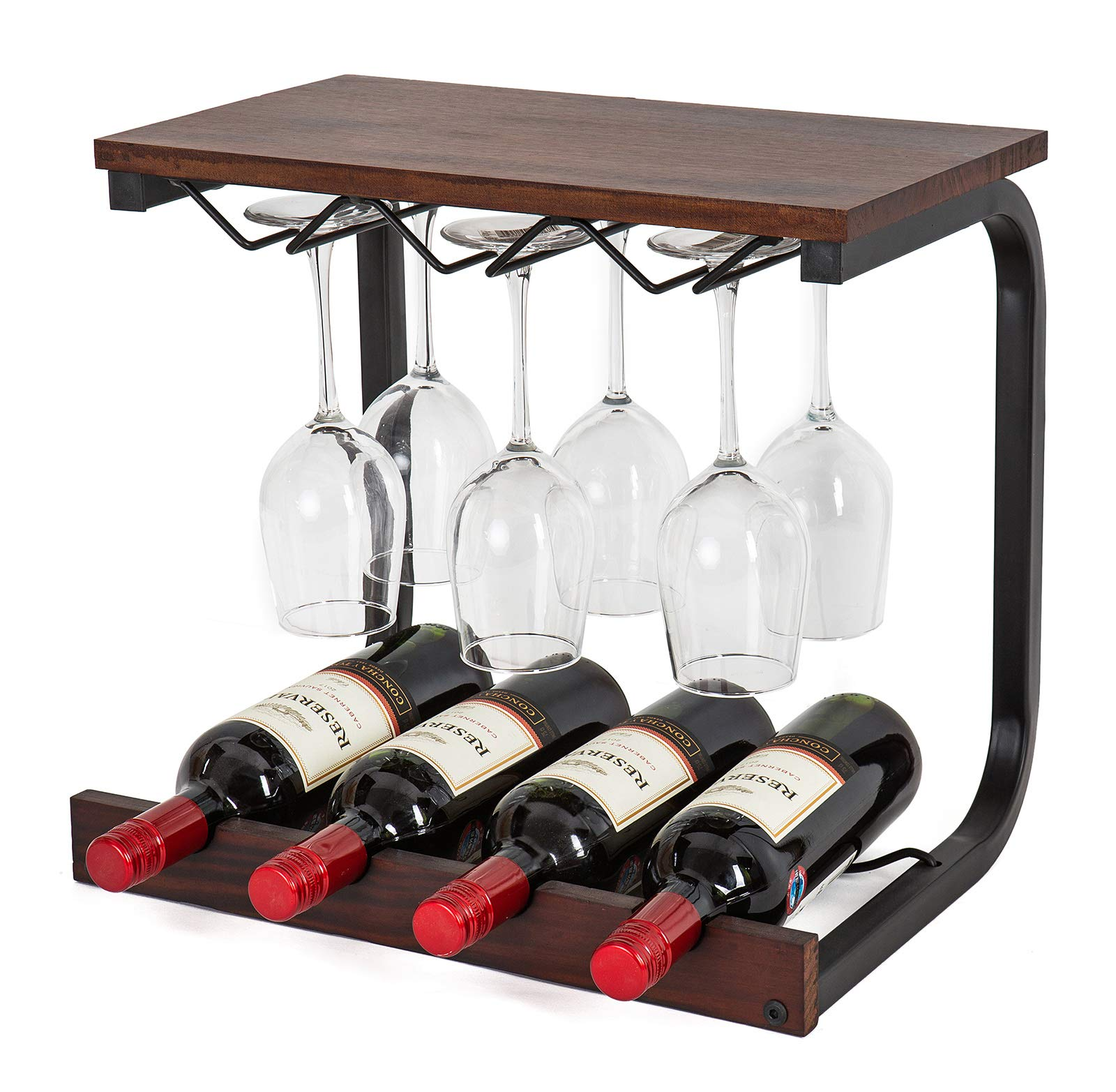 SODUKU Wine Rack Wall Mounted Handmade Metal & Wood Wine Countertop Rack Wine Storage Shelf with 4 Bottle Cages & 6 Long Stem Glass Walnut