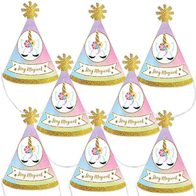 Big Dot of Happiness Rainbow Unicorn - Mini Cone Magical Unicorn Baby Shower or Birthday Party Hats - Small Little Party Hats - Set of 8: Toys & Games