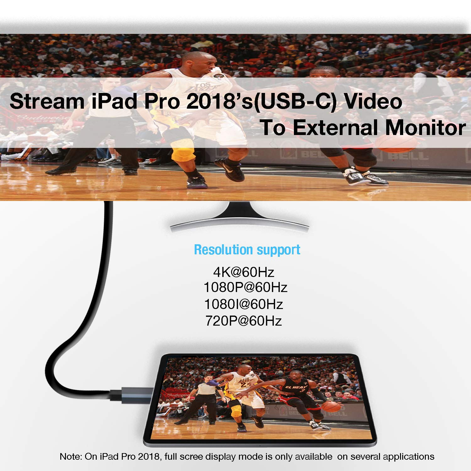 INNOMAX USB-C/Thunderbolt 3 to High Resolution (4K@60Hz,6.6 FT/2M )HDMI Video Cable for MacBook Pro 2018/2017/2016, iPad Pro/MacBook Air 2018,Galaxy S9/S8, Surface Book 2,Other USB Type-C Devices-Gray
