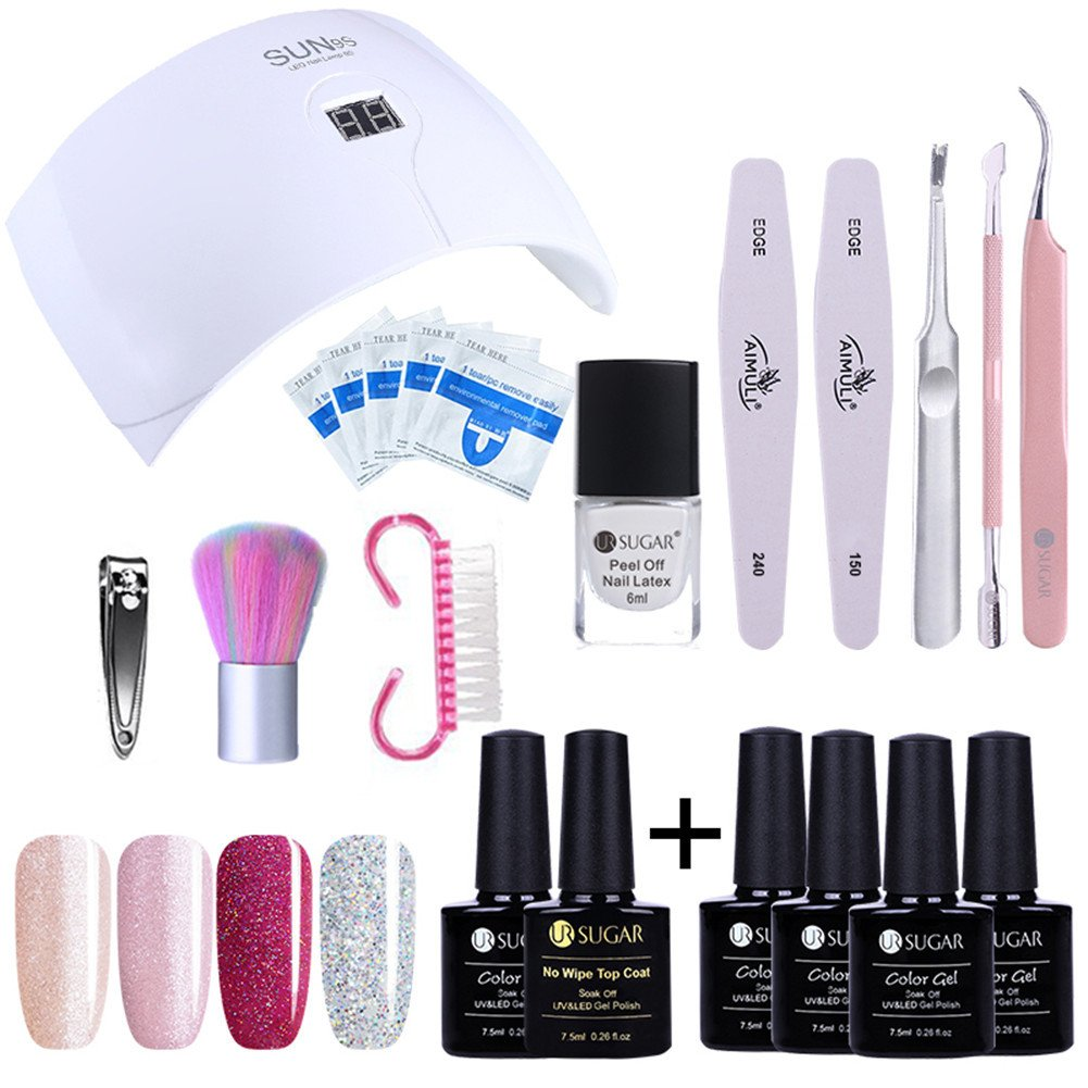 UR SUGAR Gel Nail Kit, UV LED Glitter Gel Nail Polish with Nail Dryer Manicure Set,with Top Base Coat Manicure Tool Kit for Nail Art Starter CoulorButtons