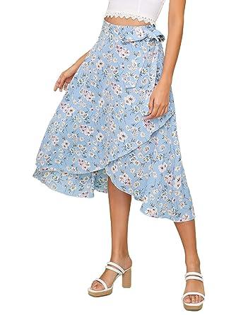 d2590f097b SheIn Women's Leopard Print Ruffle Hem Casual Midi Warp Skirt X-Small Blue