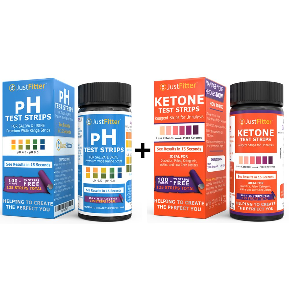pH + Ketone Test Strips. ph for Testing Alkaline and Acid Levels in The Body. Ketones Testing Suitable for Diabetics, Low Carb, Fat Burning Dieters. 125 Strips per Bottle (100 + 25 Free).