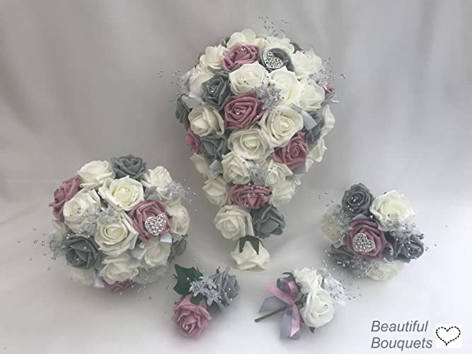 Artificial wedding flower bouquets grey dusky pink amazon artificial wedding flower bouquets grey dusky pink mightylinksfo