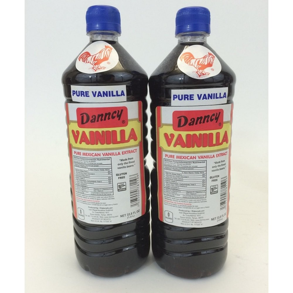 2 X Danncy Dark Pure Mexican Vanilla Extract From Mexico 33oz Each 2 Plastic Bottle Lot Sealed by Danncy (Image #1)