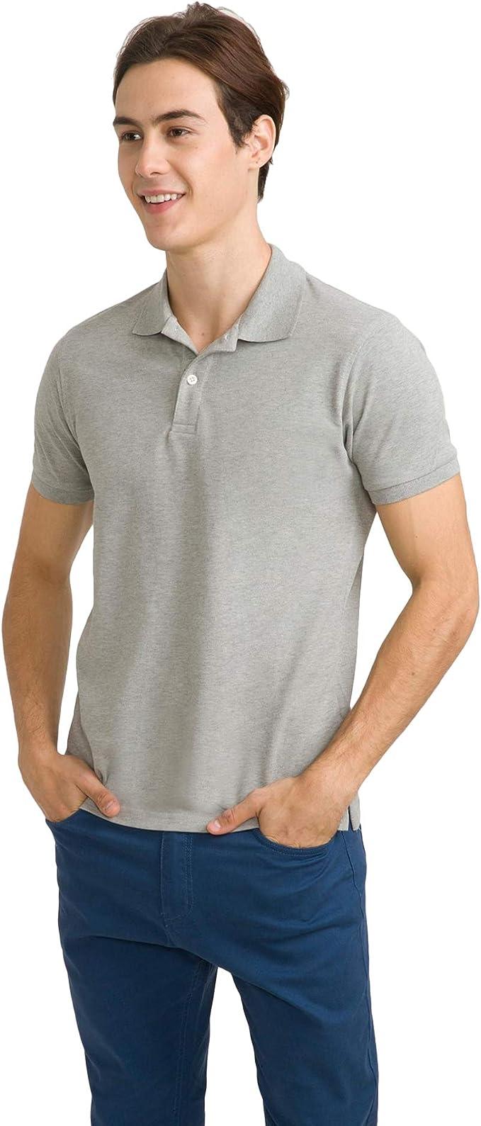 bossini Metropolitan Men Solid Ztay Dry Short Sleeve Polo Shirt Grey M,US Size 38