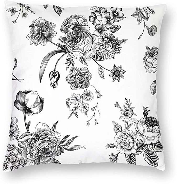 Floral With Victorian Bouquet Of Black Flowers On Garden Roses Tulips Delphinium Petunia Decorative Square Throw Pillow Covers Velvet Cushion Cover 18x18 Inches for Home Couch Sofa Bench Decor