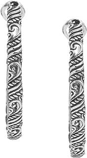 "product image for Carolyn Pollack Sterling Silver Filigree 1-3/4"" Hoop Earrings"