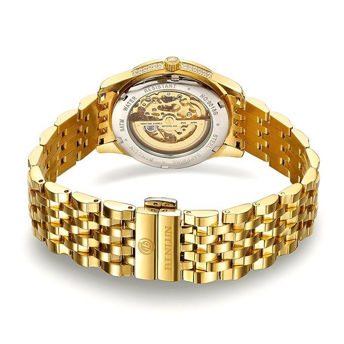 BINLUN 18 K Chapado en Oro automático de muñeca Relojes para Hombres mecánicos de Lujo de los Hombres Vestido Reloj: Amazon.es: Relojes
