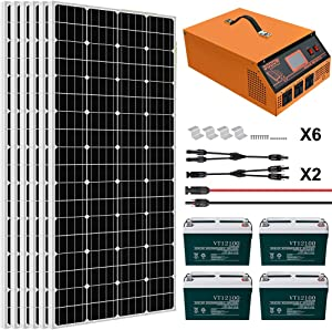 ECO-WORTHY 1KW 4KWH/Day Complete Solar Panel System Kit: Solar Panel + All-in-ONE Inverter + Battery + Solar Cable for Homes House Shed Farm