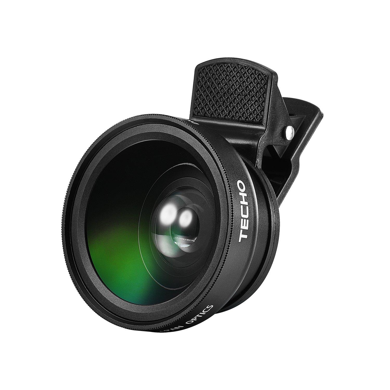online store 56652 b77e5 TECHO Universal Professional HD Camera Lens Kit for iPhone X / 8 / 8 Plus /  7 / 6s, Cellphone (0.45x Super Wide Angle Lens, 12.5x Super Macro Lens)