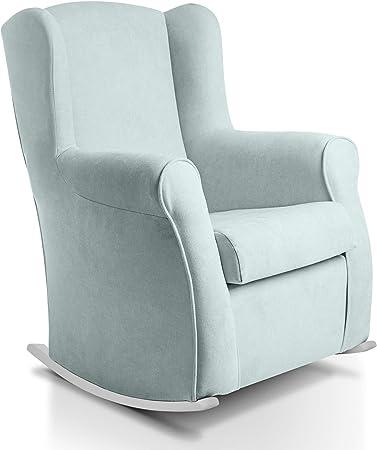 Oferta amazon: Sillon orejero balancin blanco CARLA (Sillon lactancia)Sillón tapizado antimanchas acualine color Verde Agua. Mecedora para dormitorio, salon o habitacion de bebe