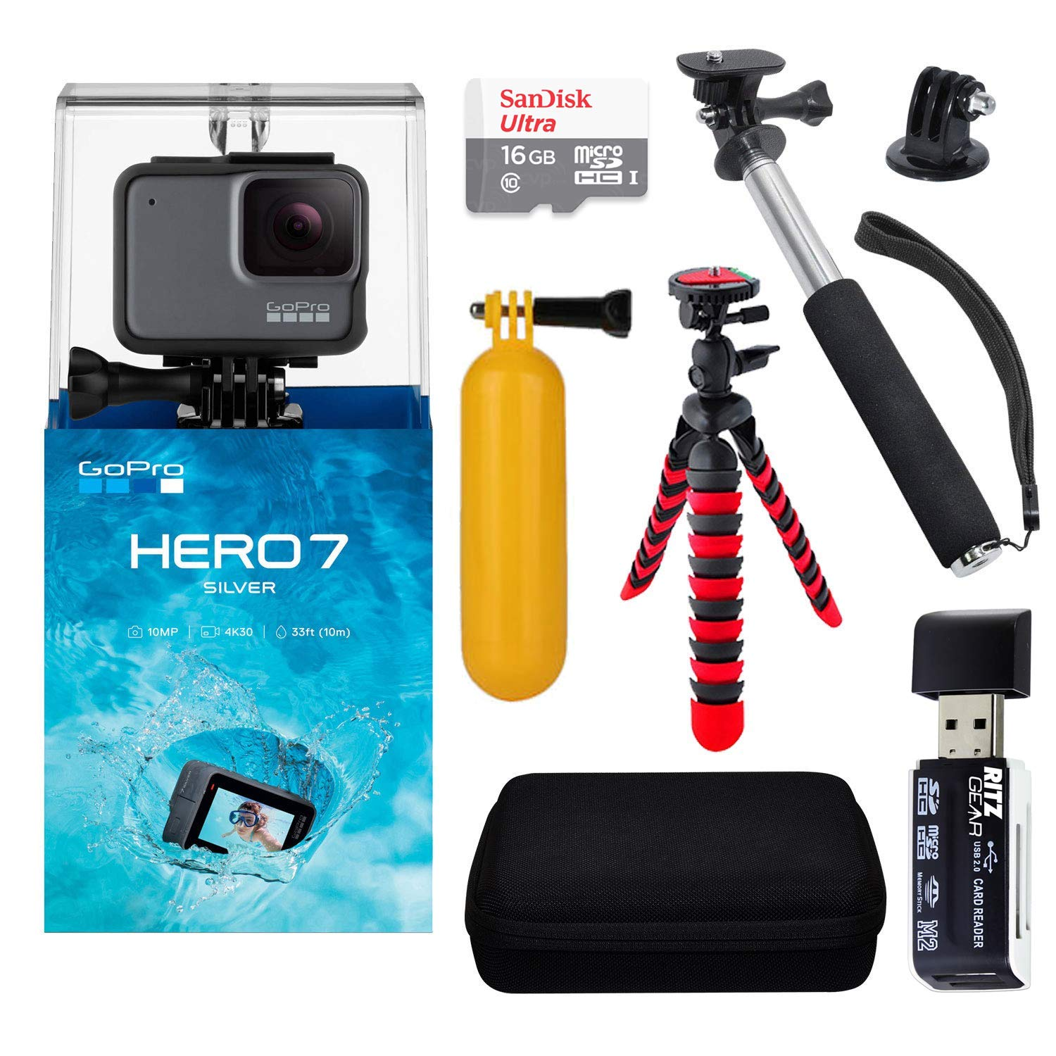 """GoPro Hero7 Silver Bundle with Handheld Monopod, 12"""" Flexi-Tripod, Float Handle, GoPro Case, Memory Card Reader, Tripod Adapter, and Sandisk 16GB MicroSDHC Memory Card"""