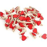 100 Piezas mini pinzas de madera en forma de corazón del arte de la pinza de madera letras de madera para Scrapbooking artesanía de madera decoración de la boda - 3 cm x 2 cm