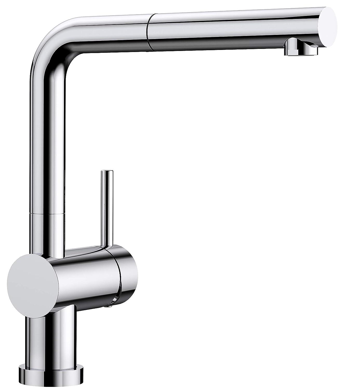 Chrome Hochdruck - Vor-Fenster-Montage - Schlauchbrause whiteo Linus-S Vario Kitchen Tap Metallic Surface Chrome High-Pressure, Black, 516698