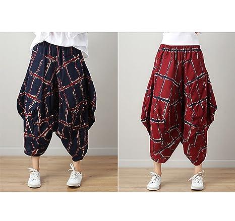 GZHGF Pantalones Harén / Pantalones Harem / Pantalones De Linterna Yoga-Festival Boho Patrón Cintura Elástica,Red-OnesizwWaist60cm-112cm/23.6