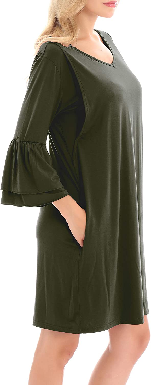 Smallshow Womens Maternity Nursing Dress Bell Sleeve Breastfeeding Shift Dress