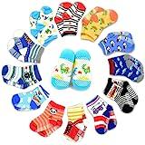 12 Pairs Anti-slip Socks Toddler Socks, Marrywindix Assorted Kids Socks Size Ages 2-3 Years Animal Print Boys Girls Socks Random Color