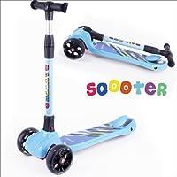 BAYTTER Kinderscooter Dreirad mit verstellbarem Lenker Kinderroller Roller Scooter LED Blinken für Kinder ab 3 4 5 Jahren, bis 100kg belastbar (Modell B in Blau)