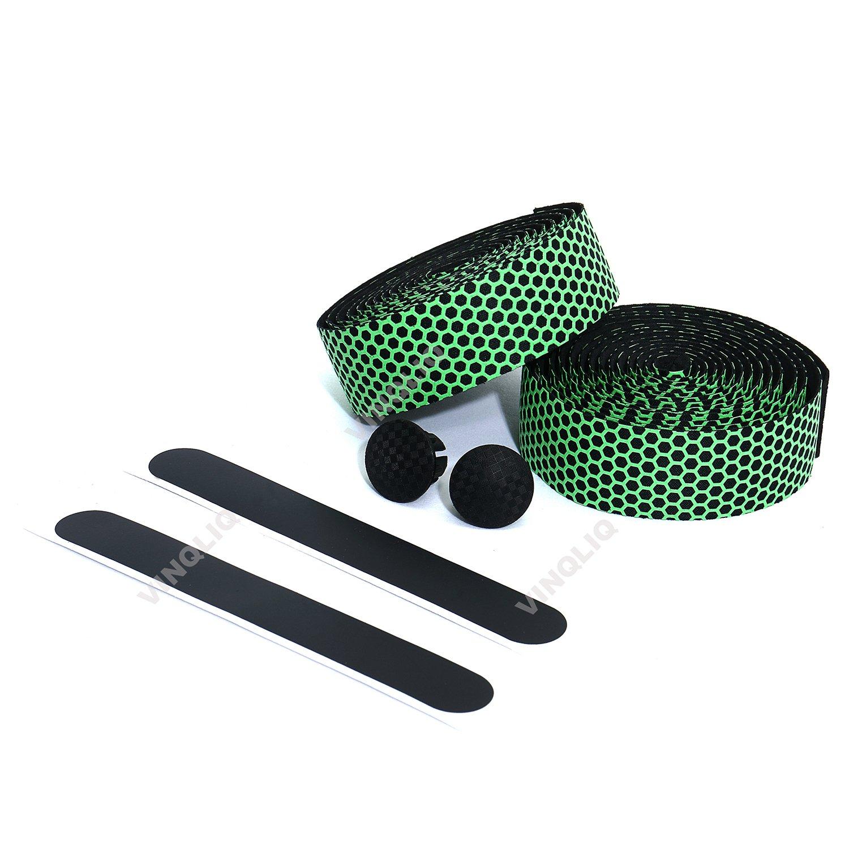 Vinqliq Superior Grip Breathable Hexagon Anti-Slip Silicone Bike Handlebar Tape Wraps Adhesive Back with Bar Plugs