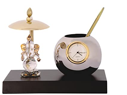 Deals Outlet Ganesh Ji Crystal Showpiece Figurine With Umbrella,Table Clock  U0026 Stylish Pen Stand