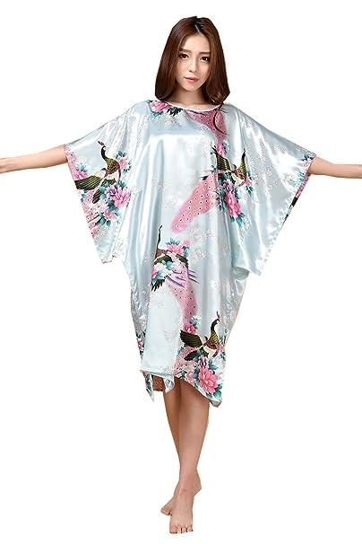 Mujer Pijama Kimono Satén Seda de Estilo de Encaje Ropa De Dormir Camisón,Kimono japonés