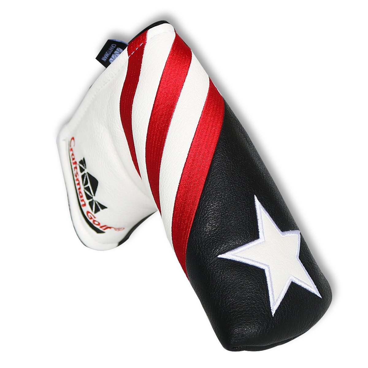 Craftsman Golf Black White Red Stripes USA Star Blade Putter Cover for Scotty Cameron Odyssey Titleist Ping Callaway