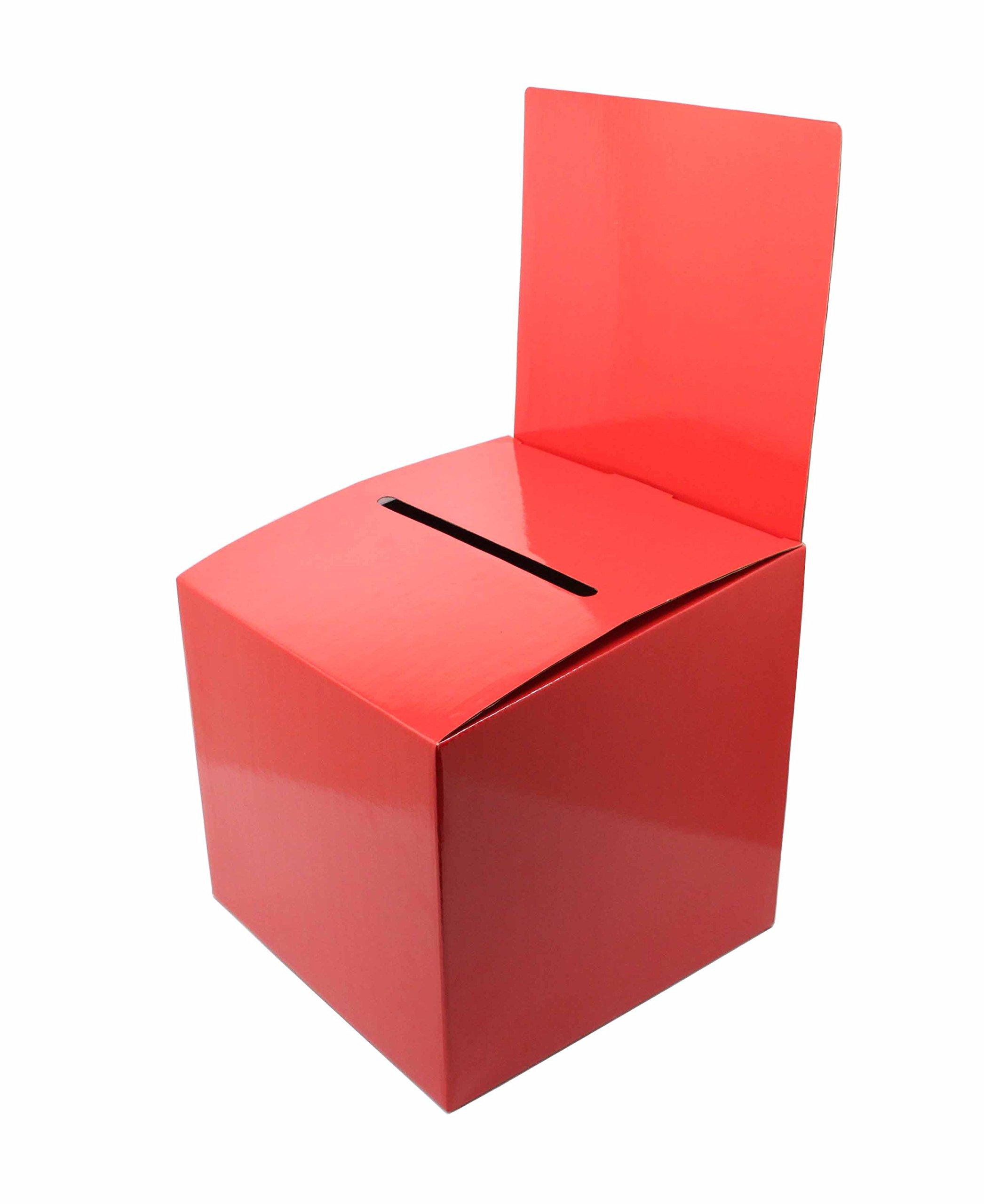FixtureDisplays Set of 7 Cardboard Ballot Box with Removable Header, Slanted Top - Red 119615-7PK