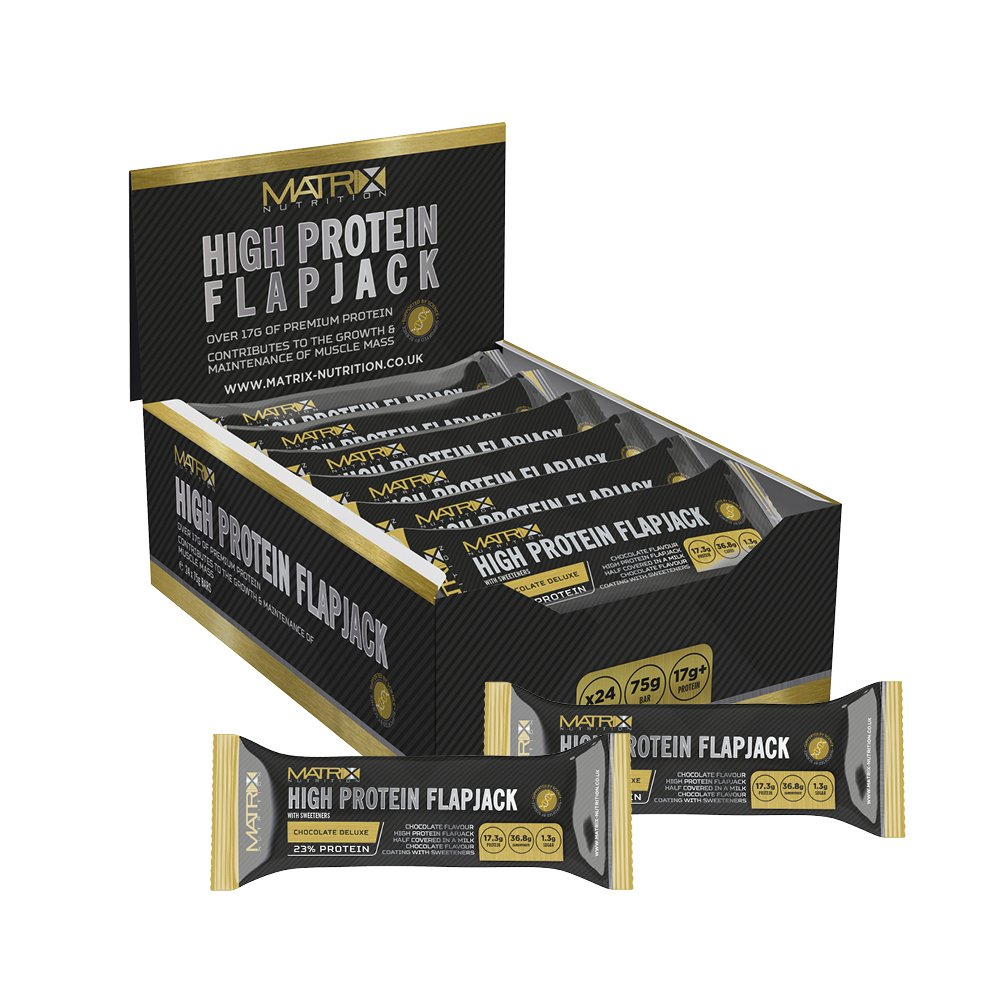 Matrix Nutrition High Protein Flapjack Box 24 × 75g | Best Sports Nutrition Muscle Mass Gain Whey Bars product image