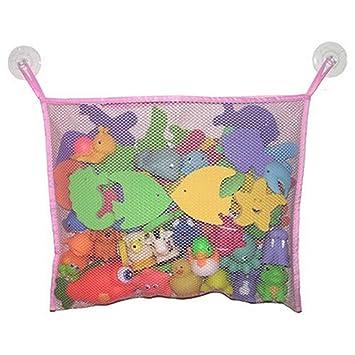 Lalang Baby Badewanne Spielzeug Aufbewahrungstasche Tasche Badespielzeug Netz Organizer Ordentlich Toys Mesh Beutel Pink