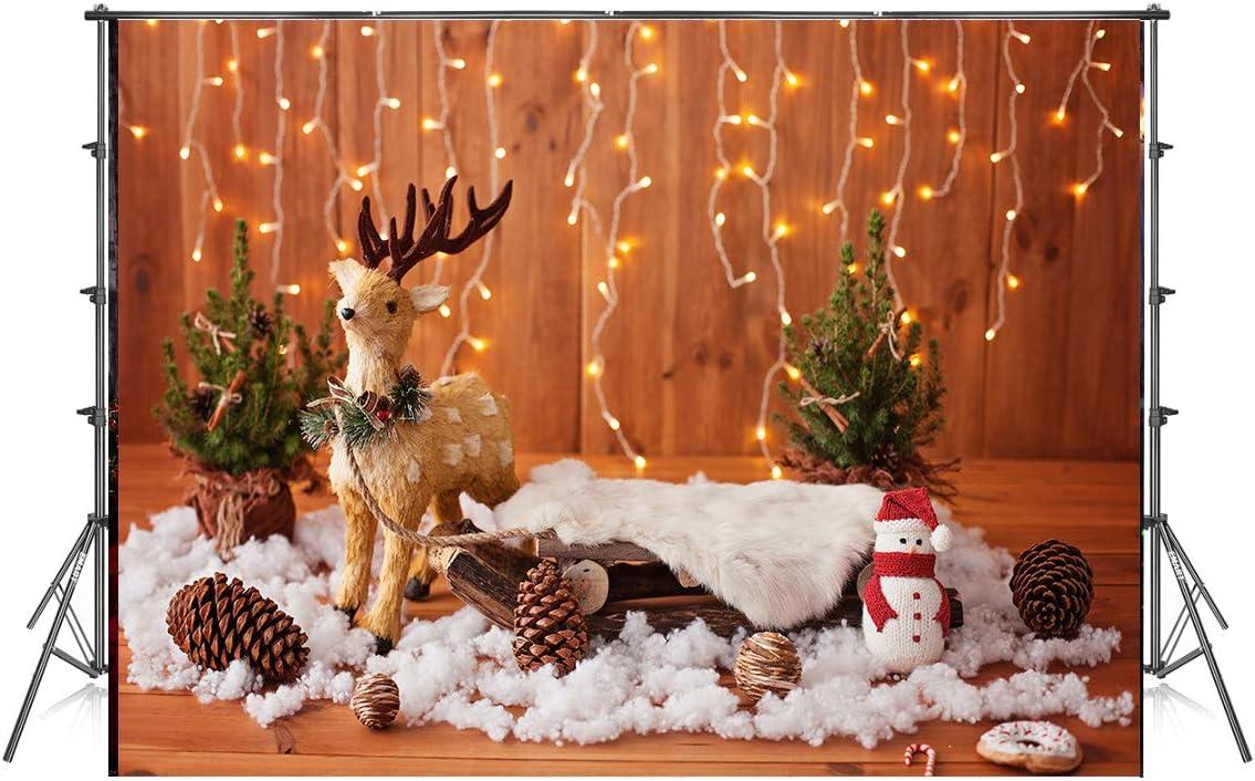 10x6.5ft Christmas Decor Photography Backdrops Light Wood Wall Photo Background Xmas Deer Microfiber Soft Fabric Backdrop for Photoshoot