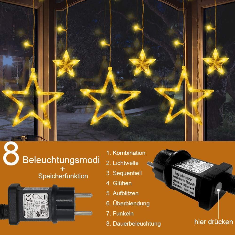 LED Lichterkette Fernbedienung für Garten  Fenster  Hochzeit 31V 12 Sterne