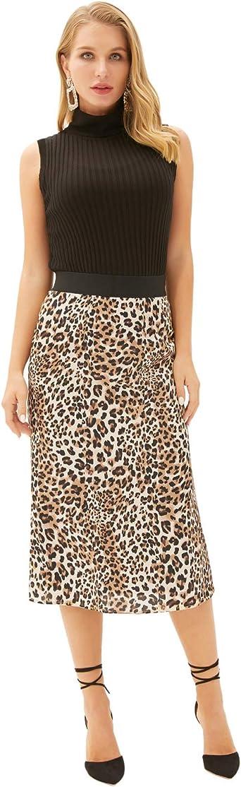 GRACE KARIN Falda Recta Leoparda para Mujer de Cintura ...