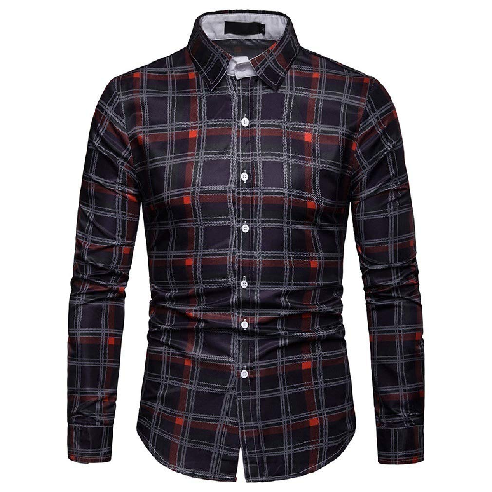 Zimaes-Men Oversized Turn Down Collar Plaid Hipster Summer T-Shirts