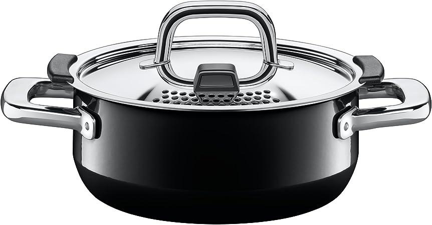 Silit Nature Black Stielkasserolle, 16 cm ohne Deckel, Kochtopf 1,3l, Silargan Funktionskeramik, Topf Induktion, schwarz
