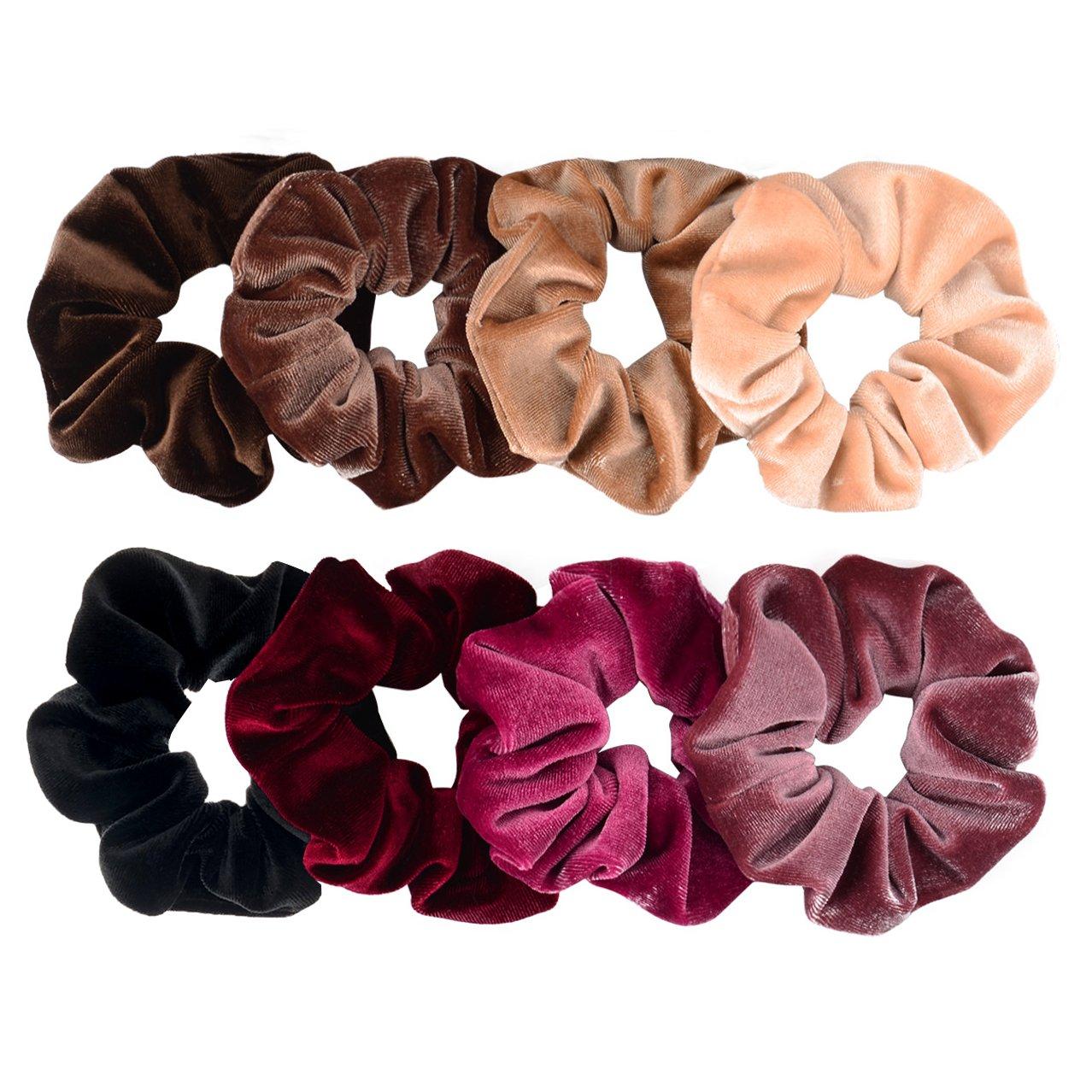 Whaline Hair Scrunchies Velvet Hair Bobble Elastics Hair Bands Soft Hair Ties for Women and Girls, 8 Pieces